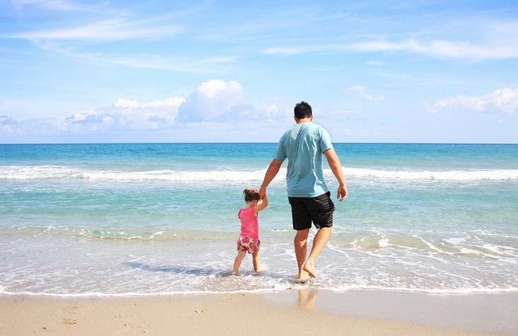Sunny Beach Daddy Daughter Sea Father Family